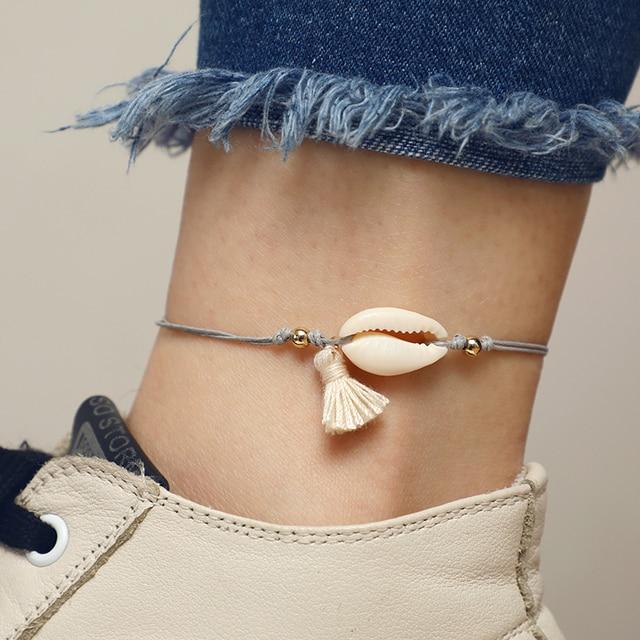 docona Boho Tassel Shell Pendant Gray Rope Adjustable Anklets Bracelets Beach Foot Jewelry 1