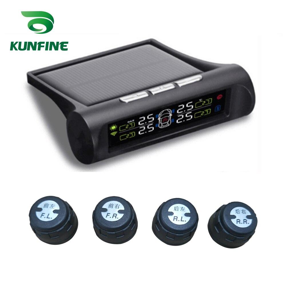 Solar TPMS Car Tire Pressure Alarm Monitor System LCD Display 4 Internal/External Sensor Alarm Systems Security Car electronics