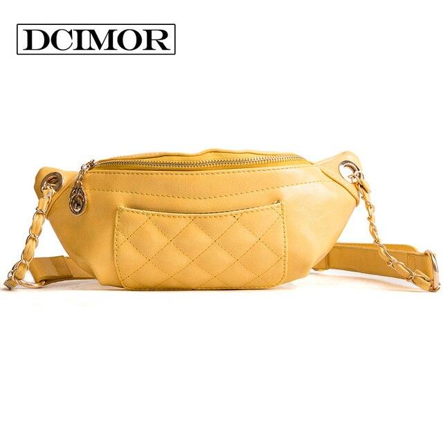 DCIMOR Women Hip Waist Packs Casual Pu Leather Chain Shoulder Bags Zipper Chest Waist Bags Travel Chest Bag Fanny Waist Pack