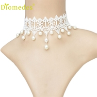 Diomedes Luxury Necklace Luxury Gothic Retro Vintage Women Wedding Pearl Lace Collar Choker Jewelry Necklace #0105