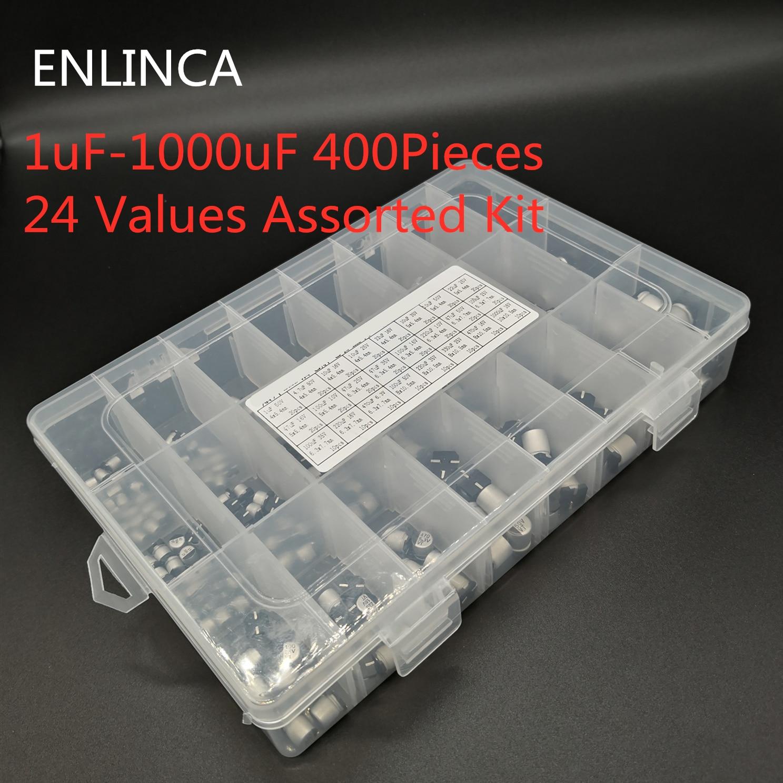 400pcs/lot 1uF-1000uF 24 Values Assorted Kit Electrolytic Capacitor SMD Aluminum Electrolytic Capacitor