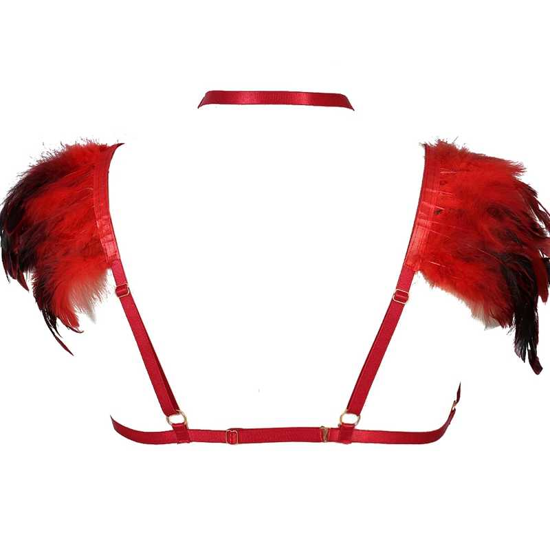 Red Feather Epaulette Shoulder Angel Wings Adjust Strap Harness Cage Bra Bondage Lingerie Sexy Goth Fetish Halloween Dance Rave