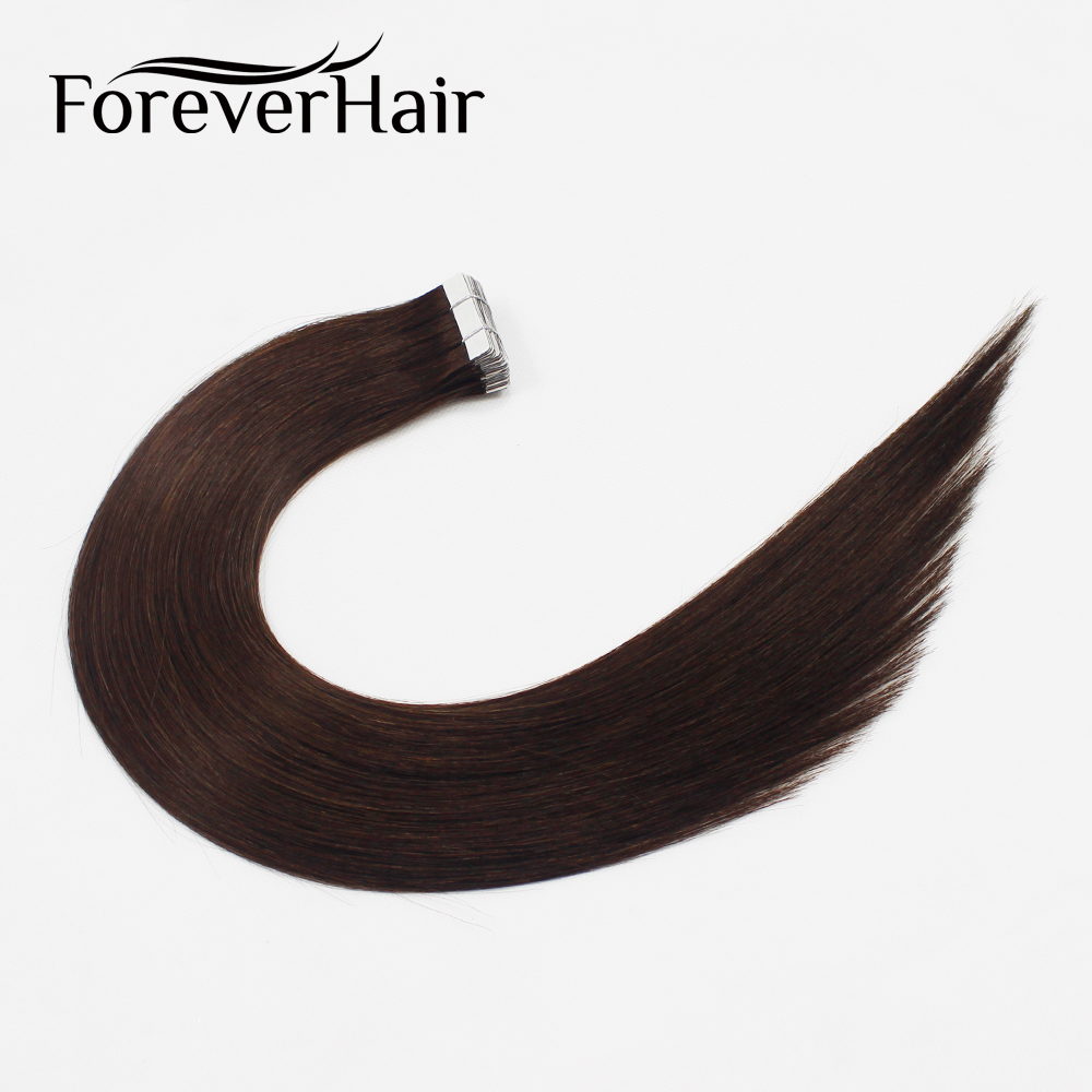 FOREVER HAIR 2 0g pc 18 Tape In Human Hair Extension Darkest Brown 2 20pcs Straight