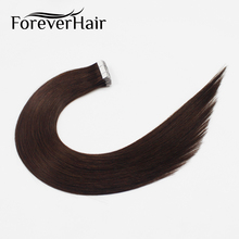 """Волос навсегда 2.0 г/шт. 18 """"Ленты в человеческих Наращивание волос темный коричневый #2 20 штук прямые волосы Ленты уток кожи Реми Наращивание волос s"""