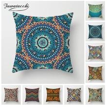 Fuwatacchi Mandala Floral Pattern Cushion Cover Woven Linen Geometric Pillow Cover Home Decoration Sofa Decorative Pillowcase swans heart pattern decorative linen pillowcase