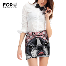 FORUDESIGNS Funny Boston Terrier Print Women Beach Skirts Ladies Fashion Pencil for Females Cute Bowtie Pattern Bottoms