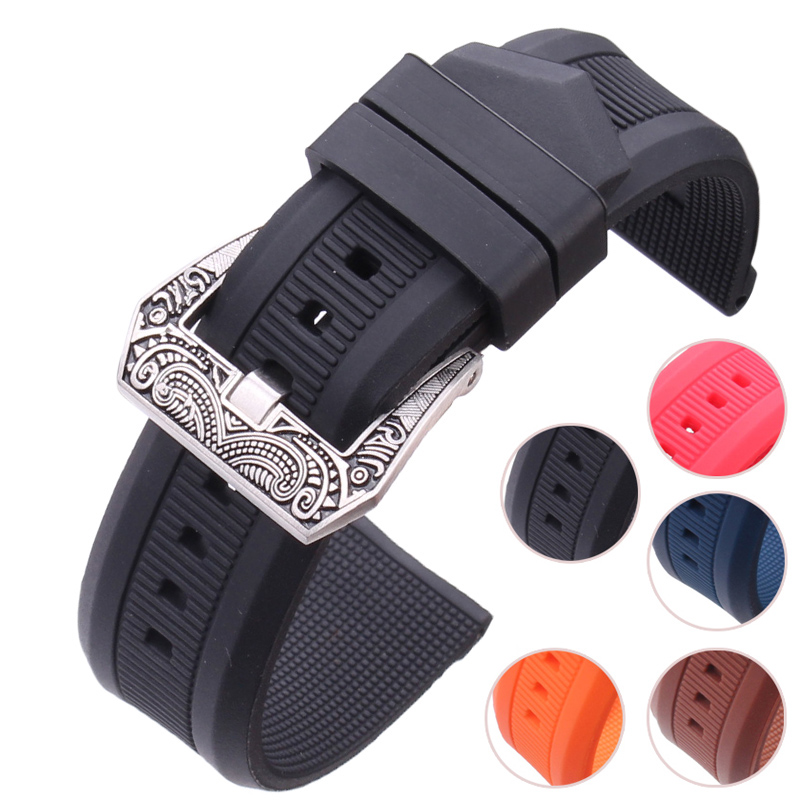 HENGRC Silicone Watchband 22mm Soft Rubber Watch Strap With High Quality Stainless Steel Pin Buckle Red Black Blue Bracelet цена