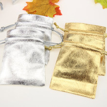 50Pcs Gold Color & Silver Drawstring Bags Jewelry Gift Bag 8*10cmParty New Year Christmas/Wedding Bronzing bag