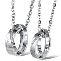 Jewelry Gift Fashion Design Crystal Elegant Couple Promise Necklace 316L Stainless Steel For Women Man Jewelry