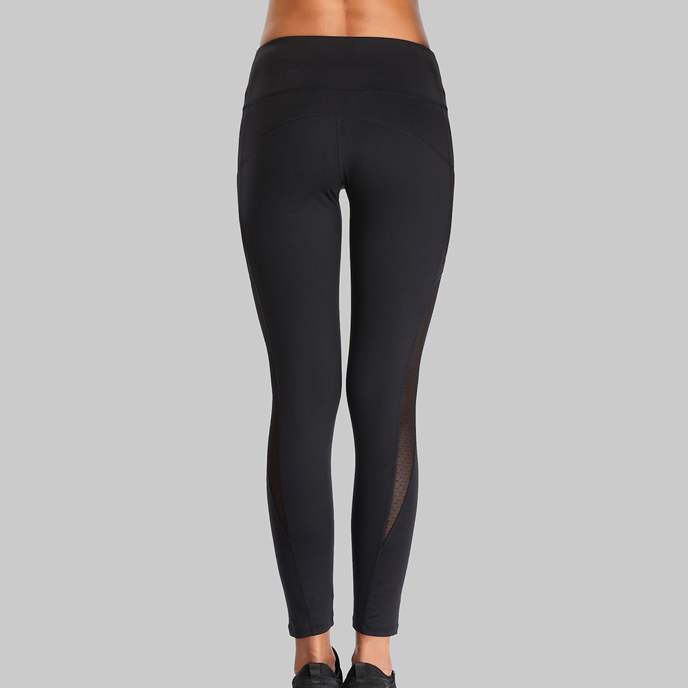 Charmleaks Women Yoga Pants Women Slim High Waist Sports Pants Lace Mesh Gym Fitness Elastic Trousers Running Trainning Pants in Yoga Pants from Sports Entertainment