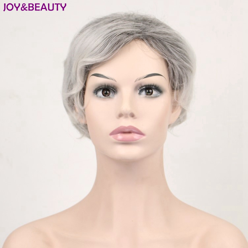 how to style short puffy hair amp hair synthetic curly hair 7535 | JOY BEAUTY Hair Synthetic Short Curly Hair Puffy Natural Silver Grey Wigs With Bangs For Women