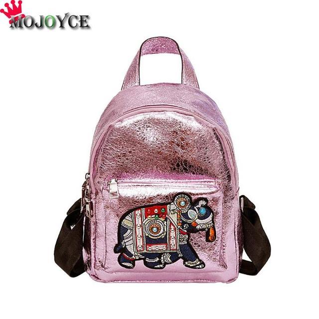 e417e3753184 Women Mini Backpack Fashion School Bags PU Leather Generous Decent Cartoon  Embroidery Zipper Teenage Girls Shoulder Bag