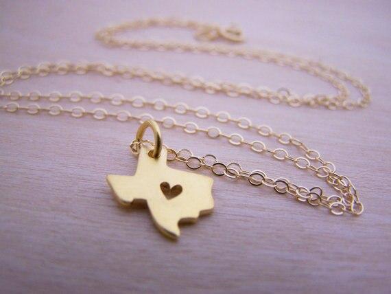 10PCS - obrys Texas náhrdelník se srdcem USA TX státní náhrdelník I srdce láska Texas náhrdelníky mapa geografie náhrdelník