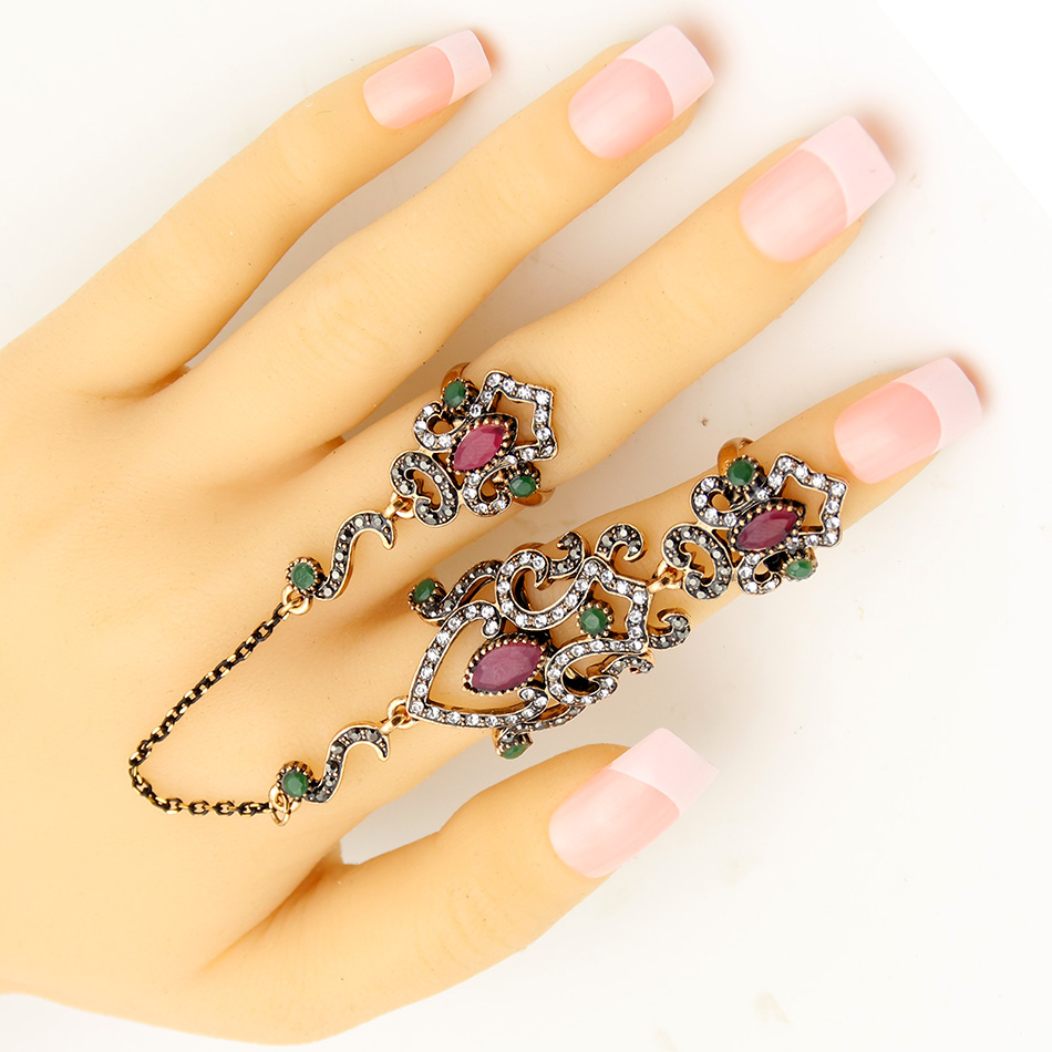 SUNSPICE MS Vintage Turkey Women Flower Double Link Ring Set - Perhiasan fesyen - Foto 3