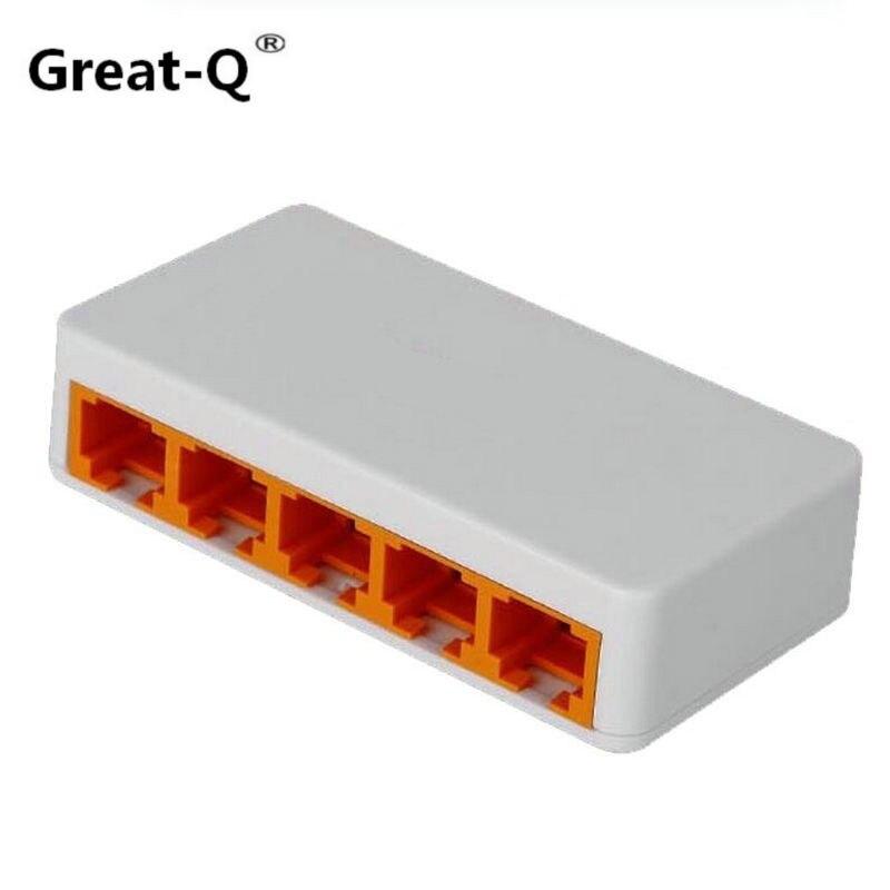 Grand-Q 5 Ports 100 Mbps Fast Ethernet LAN RJ45 Réseau Commutateur Switcher Hub PC De Bureau avec US EU adaptateur par micro usb