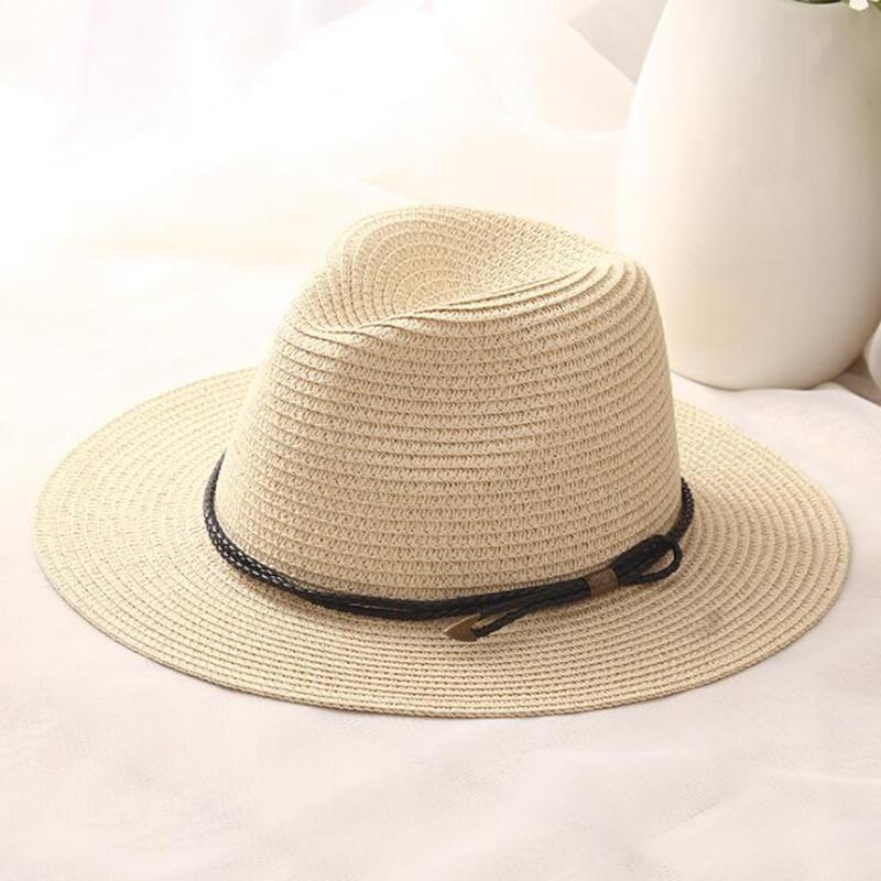 New feminino mulheres sombreros verão chapéu Panamá cinto preto clássico  sunhats Chapéu Jazz chapéus de praia afef6a3962d