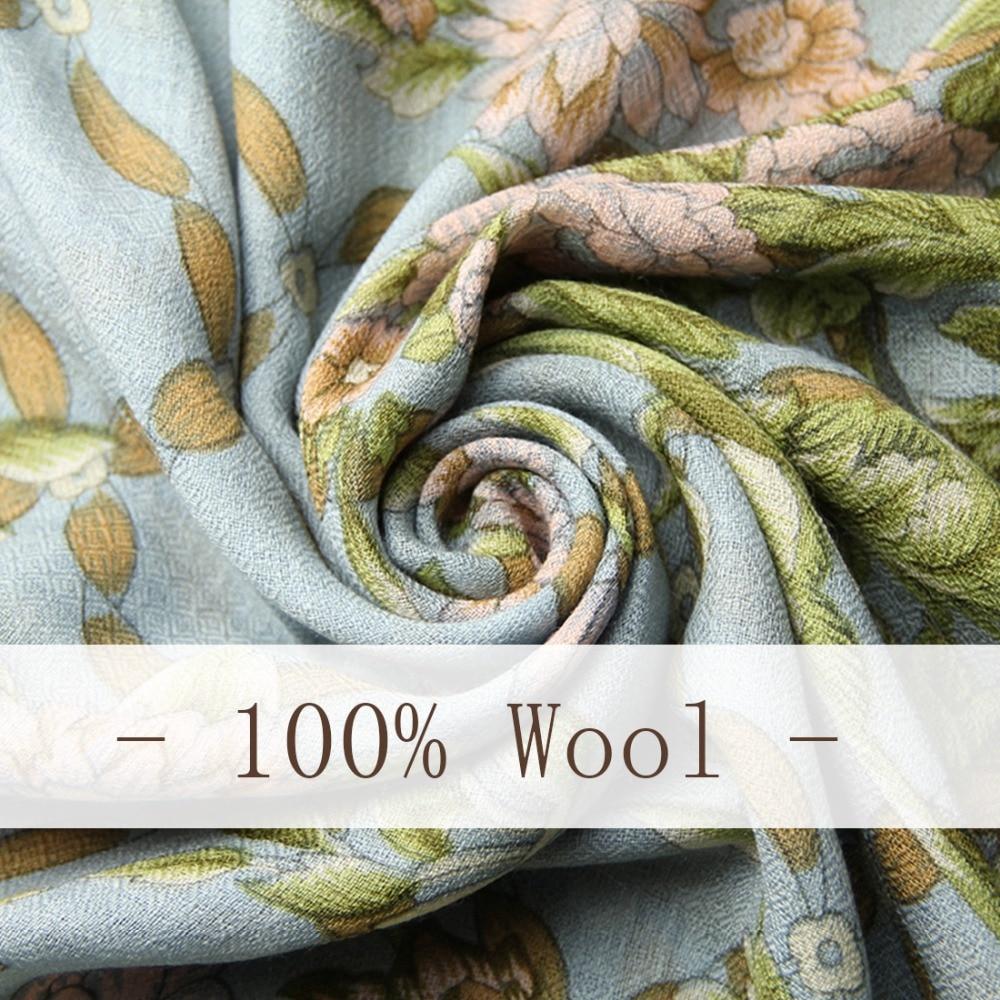 100% bufandas de cabeza cuadrada de lana para mujer elegante señora Carf y chal cálido largo estampado Animal Stoles Bandana bufanda Hijab playa manta - 5