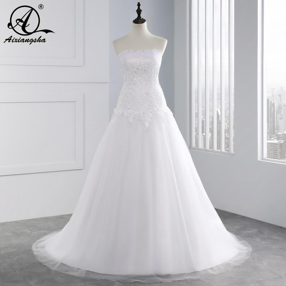 White Ivory Pink Wedding Dresses 2018 Long New Charmming V neck ...
