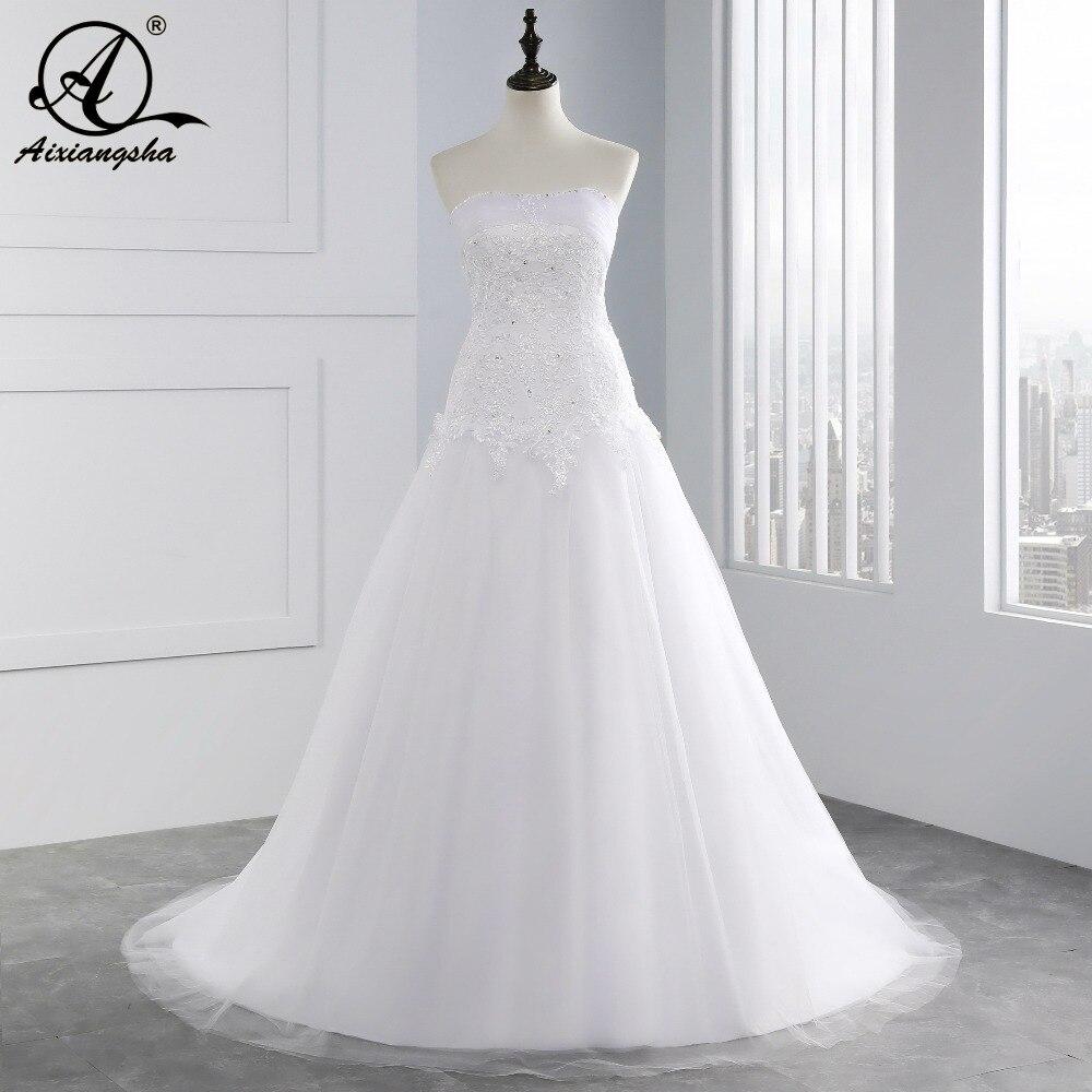 Vente chaude Pas Cher sirène robe de mariage 2018 Sans Bretelles Tulle Chérie applique Dentelle de mariage robes paillettes plage robe de noiva
