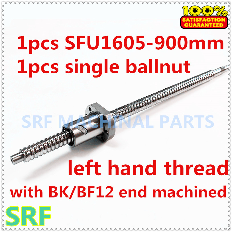 High quality 1pcs 16mm left hander Rotation ballscrew SFU1605  L=900mm+1pcs SFU1605 Ball nut with BK/BF12 end machined tbi left helix c3 ballscrew 1605 300mm sfu1605 nut end machined high precision for cnc diy parts