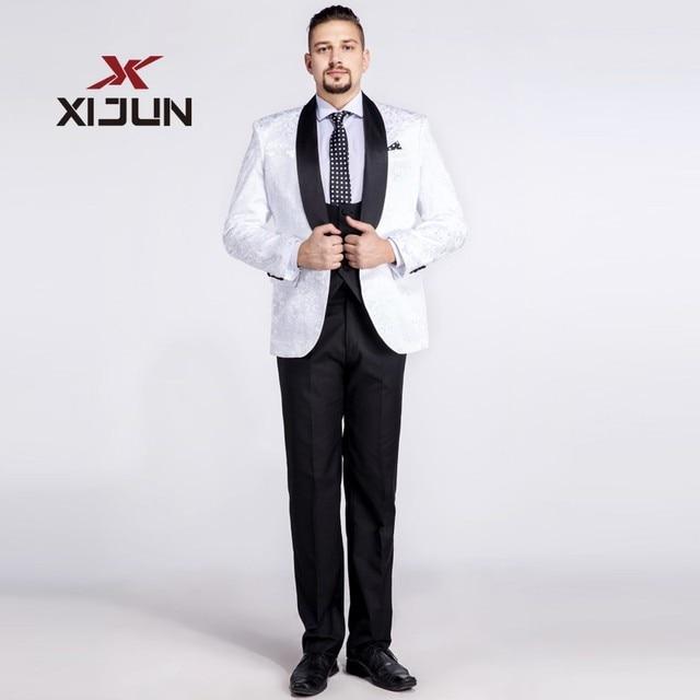 d880ee9d1df Xijun Floral White and Black Wedding Suits For Men 3 Piece Suit  (Jacket+Pants+Vest) China Custom Made Groomsmen Tuxedo Plus Size