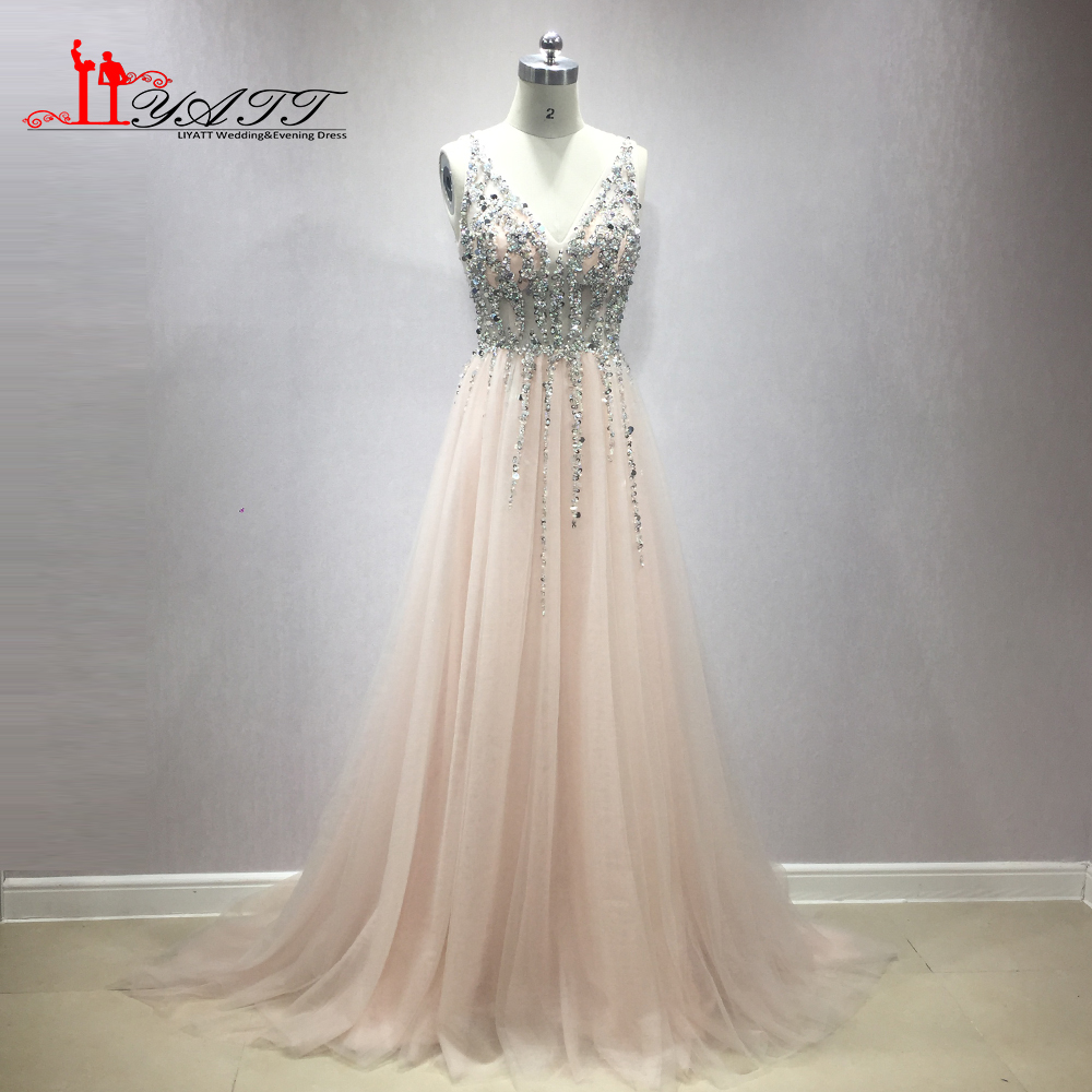 LIYATT New Arrival Pink Sexy Deep V-neck Crystal Long Puffy Tulle Beading Top Real Photo Evening Prom Dresses Backless