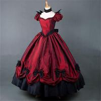 Southern Belle Costume Victorian Dress Costume Adult Halloween Costumes For Women Wine Red Gown Ball Lolita Dress Custom Made