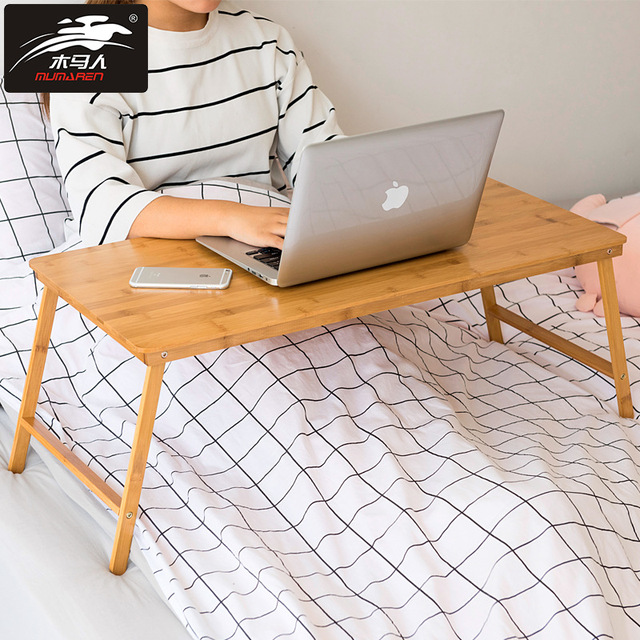 Foldable Legs Laptop Desk Collapsible Bamboo Tablet Table Simple