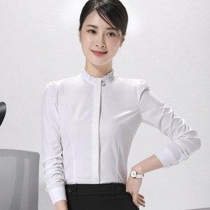 Image 3 - אופנה חדש נשים חולצה רשמית עסקים slim צווארון עומד ארוך שרוול שיפון חולצה נשי לבן אפור בתוספת משרד חולצות