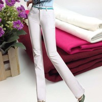 White T R Bengaline Jeans Fabric With Spandex Width 150cm 1 Way Strech Apparel Sewing Tissus
