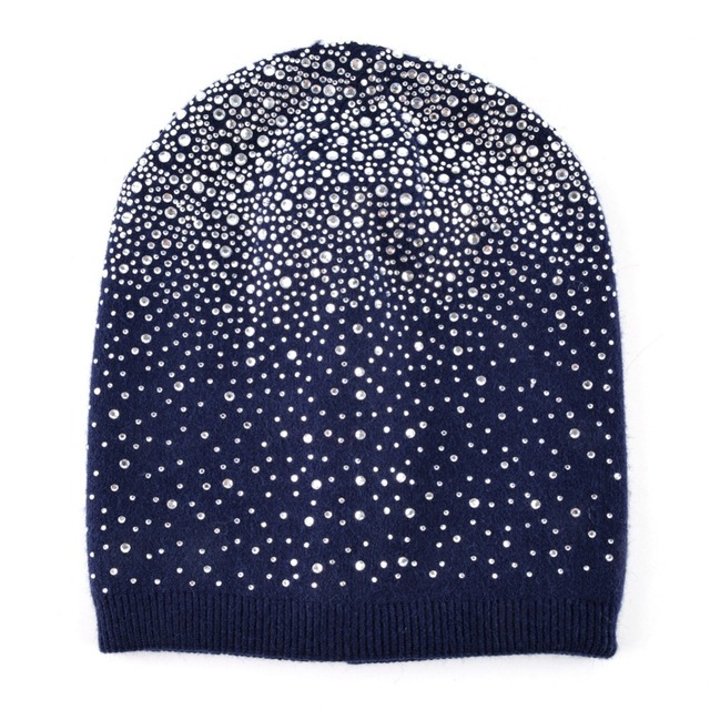 Femal Winter Beanie Hats Rabbit Wool Knitted Caps Women Flashing Rhinestone Bonnet For Girl Skullies Hat Touca Feminina Inverno