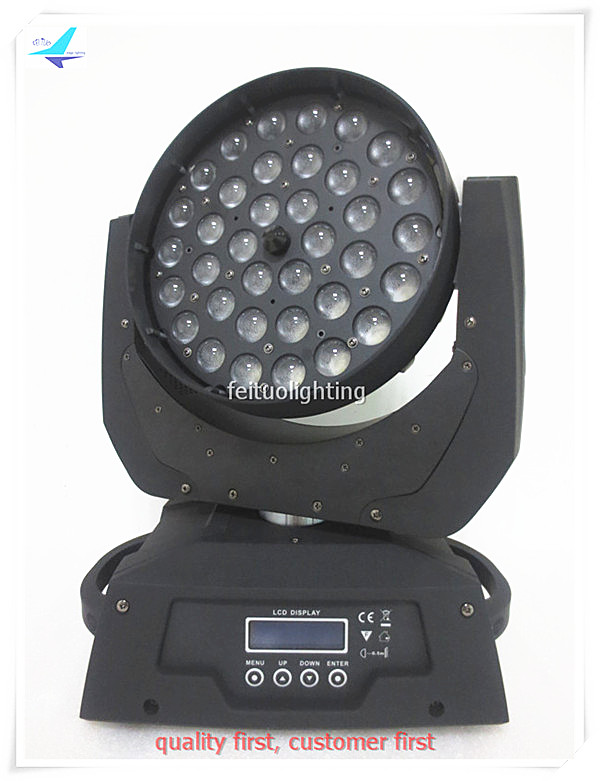 free shipping 6pcs/lot Circle Effect ZOOM 36x10w Moving Head Light RGBW 4IN1 Stage Wash Sound Active DJ Party Wedding Lighting