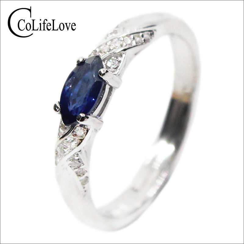 Hotsale natural sapphire ring 3*6mm natural sapphire gemstone silver ring solid 925 silver sapphire ring from Chinese sapphire m