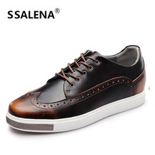 Business Formal Men Dress Shoes Brogue Pointed Toe Oxfords Wedding Shoes Male Genuine Leather Casual Working Shoes AA20444
