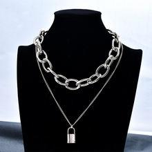 Женское многослойное ожерелье с подвеской замком в стиле ретро