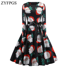 ZYFPGS 2019 New Year Party Dress Ladies Christmas Theme Womans Long Festive Warm Fashion Santa Hot Z1112