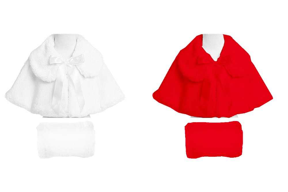 8148709e4 Baby Red Bolero Child dress cloak mantissas female child girl princess  white plush cape party cloak