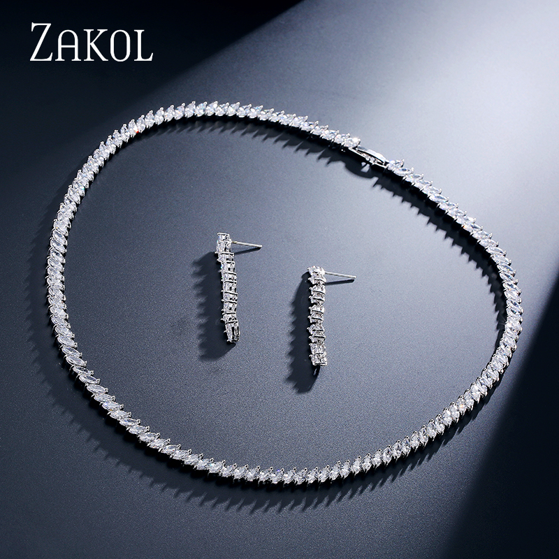 ZAKOL 2 Color Trendy Marquise Top Quality CZ Diamond White 18K Gold Plated Necklace and Earrings