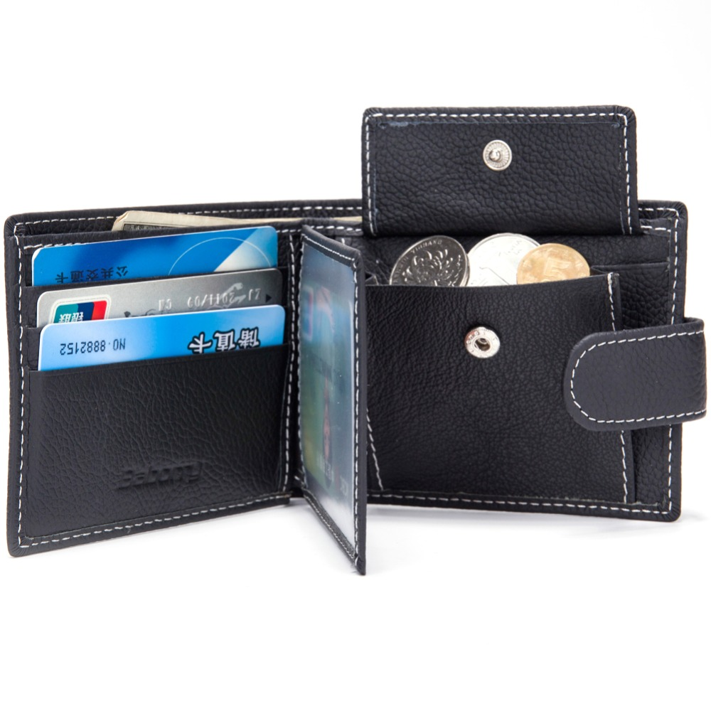 Wallet brand Short men Wallets Genuine leather Leather male Purse Card Holder Wallet Fashion man Zipper Wallet men Coin bag in Wallets from Luggage Bags