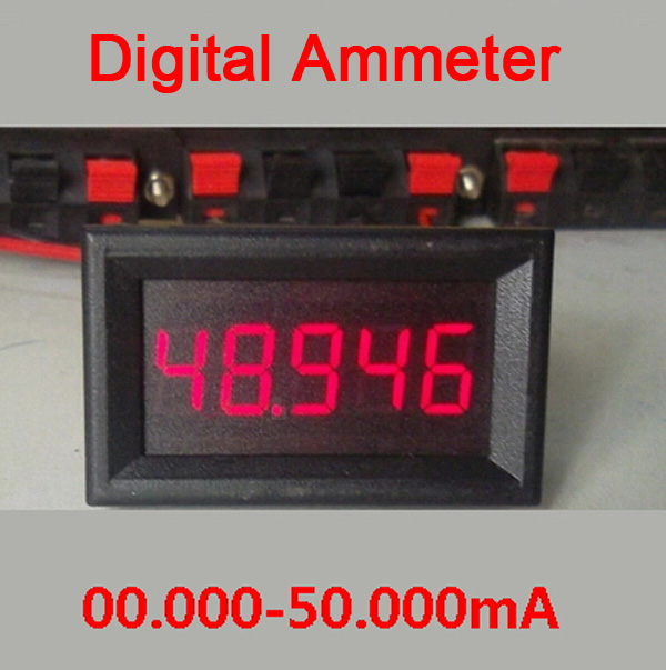 DC 0-50.000mA/50mA Digital Ammeter Red LED High Precision AMP Tester Meter Monitor Current Built-in Shunt
