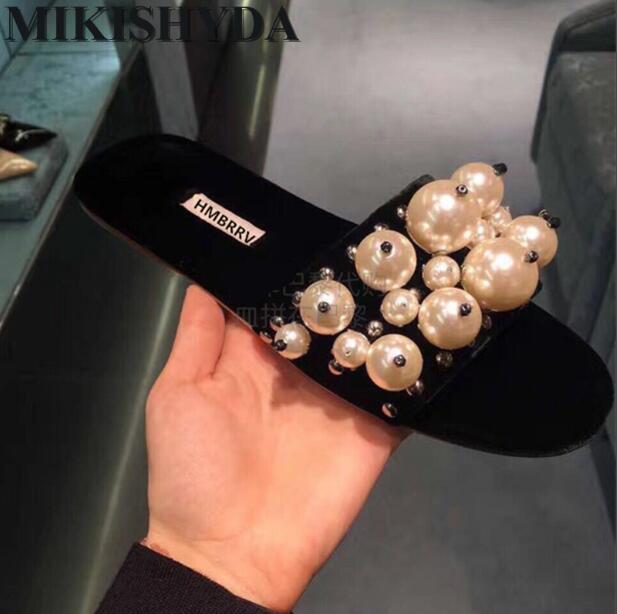 2017 New Handmade String Pearl Flat Sandals Plush Slippers Female Summer Fur Sliders Women'S Flat Flip Indoor Slippers все цены