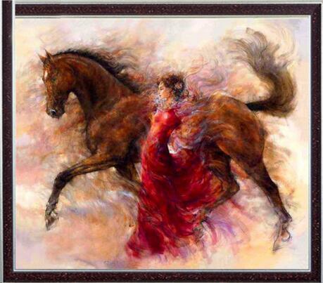 Conjunto de kits de punto de cruz con cuentas de calidad sin imprimir de 14CT con bordado, pintura al óleo para mujer y caballo, decoración para pared, hecha a mano para el hogar