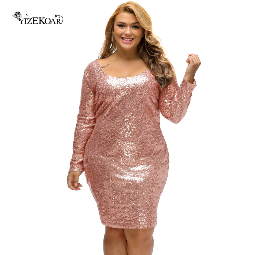 Popular Plus Size Long Sleeve Sequin Dress-Buy Cheap Plus Size ...