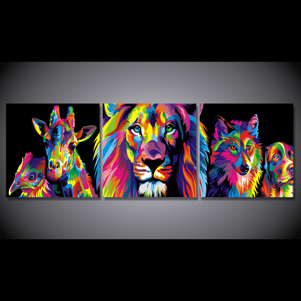 US $32 39 OFF 3 Pcs Set Framed HD Dicetak Mewarnai Singa Hewan Gambar Wall Art Print Decor Kanvas Minyak Lukisan Cuadros Decoracion Cuadros