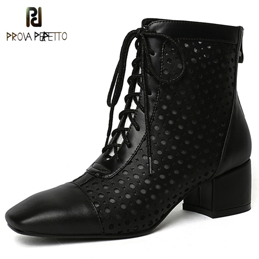 Prova Perfetto New Style Silver Lace-up Women Ankle Boots Cross-tied Real Leather Zapatos Mujer Shoes Square Toe High Heel BootsProva Perfetto New Style Silver Lace-up Women Ankle Boots Cross-tied Real Leather Zapatos Mujer Shoes Square Toe High Heel Boots