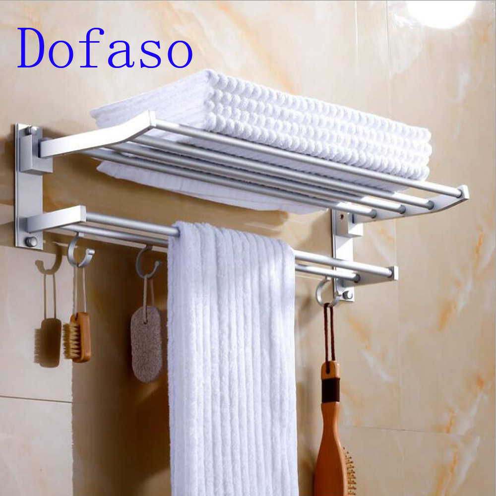 Dofaso bathroom or kitchen hardware storage rack holder shelf length shower organizer towel rack 40/50cm 2 layer with hooks цены