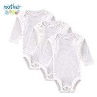 3 PCS LOT White Baby Bodysuit Boys Girls Clothes Long Sleeve Baby Wear Infant Jumpsuit Roupa