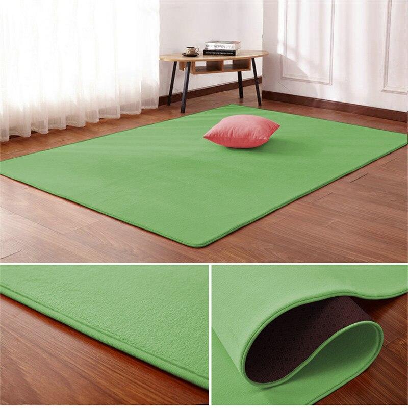 New Listing Living Room Carpet Floor Mat Bedroom Bed Coral Fleece Blanket Study Door Rug Coral Fleece Cushion-green 0.8*1.6m