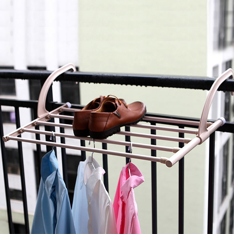 Clothes Hanger Telescopic Balcony Indoor and Outdoor Drying Racks Dry Sand Racks with Towel Rack Bathroom Shelf Organizer
