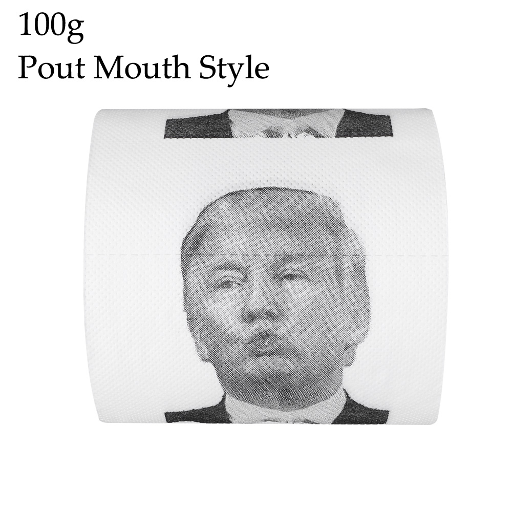 100g Funny Toilet Paper Roll Donald Trump Humour Toilet Paper Roll Novelty Funny Kiss Gift  Prank Joke Paper Tissue